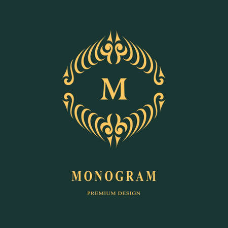 Beautiful monogram. Elegant emblem. Art logo design. Letter M. Graceful template. Business sign, identity for Restaurant, Royalty, Boutique, Cafe, Hotel, Heraldic, Jewelry, Fashion Vector illustration