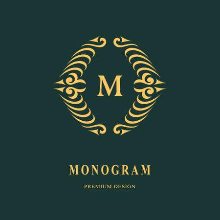 Beautiful monogram. Elegant emblem. Art logo design. Letter M. Graceful template. Business sign, identity for Restaurant, Royalty, Boutique, Cafe, Hotel, Heraldic, Jewelry, Fashion Vector illustration