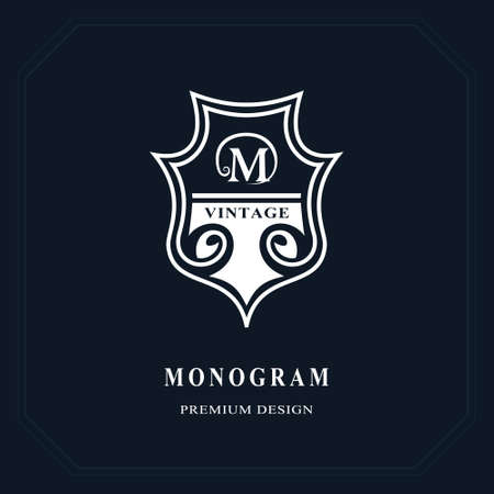 Beautiful line monogram. Elegant emblem. Art logo design. Letter M. Graceful template. Business sign, identity for Restaurant, Royalty, Boutique, Cafe, Hotel, Heraldic, Jewelry. Vector illustration Vettoriali