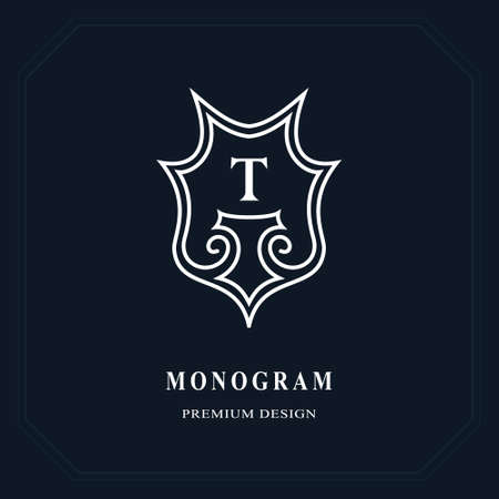 Beautiful line monogram elegant emblem. Letter T graceful template. Business sign, identity for Restaurant, Royalty, Boutique, Cafe, Hotel, Heraldic, Jewelry. Vettoriali
