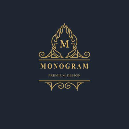 Monogram design elements, graceful template. Calligraphic elegant line art logo design. Capital Letter emblem sign M for Royalty, business card, Boutique, Hotel, Heraldic, Jewelry. Vector illustration