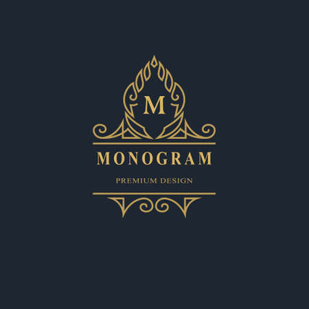 Monogram design elements, graceful template. Calligraphic elegant line art logo design. Capital Letter emblem sign M for Royalty, business card, Boutique, Hotel, Heraldic, Jewelry. Vector illustration