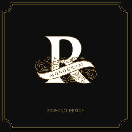 Elegant letter R. Calligraphic beautiful logo with tape for labels. Graceful style. Vintage drawn emblem for book design, brand name, business card, Restaurant, Boutique, Hotel. Vector illustration