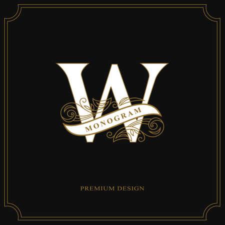 Elegant letter W. Calligraphic beautiful logo with tape for labels. Graceful style. Vintage drawn emblem for book design, brand name, business card, Restaurant, Boutique, Hotel. Vector illustration