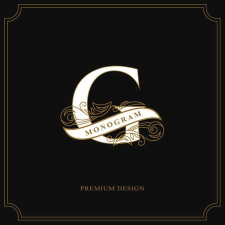 Elegant letter G. Calligraphic beautiful logo with tape for labels. Graceful style. Vintage drawn emblem for book design, brand name, business card, Restaurant, Boutique, Hotel. Vector illustration