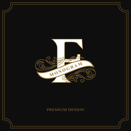 Elegant letter F. Calligraphic beautiful logo with tape for labels. Graceful style. Vintage drawn emblem for book design, brand name, business card, Restaurant, Boutique, Hotel. Vector illustration