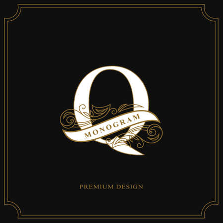 Elegant letter Q. Calligraphic beautiful logo with tape for labels. Graceful style. Vintage drawn emblem for book design, brand name, business card, Restaurant, Boutique, Hotel. Vector illustration