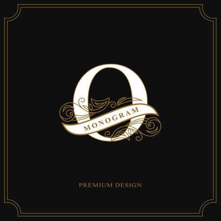 Elegant letter Q, calligraphic beautiful icon with tape for labels, graceful style. Vintage drawn emblem for book design, brand name, business card, restaurant, boutique, hotel vector illustration.