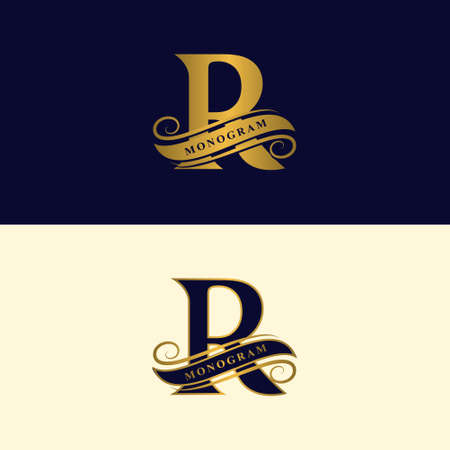 Gold letter R. Calligraphic beautiful icon with tape for labels.