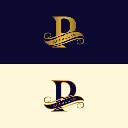 Gold letter P. Calligraphic beautiful logo with tape for labels. Graceful style. Vintage drawn emblem for book design, brand name, business card, Restaurant, Boutique, Hotel. Vector illustration
