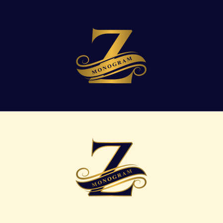 Gold letter Z. Calligraphic beautiful logo with tape for labels. Graceful style. Vintage drawn emblem for book design, brand name, business card, Restaurant, Boutique, Hotel. Vector illustration