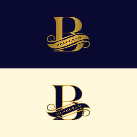Gold letter B. Calligraphic beautiful logo with tape for labels. Graceful style. Vintage drawn emblem for book design, brand name, business card, Restaurant, Boutique, Hotel. Vector illustration