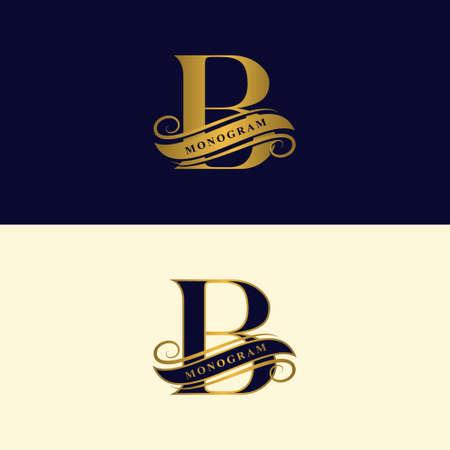 Lettre d'or B.Joli logo calligraphique avec du ruban adhésif pour les étiquettes. Style gracieux. Emblème dessiné vintage pour la conception de livres, nom de marque, carte de visite, restaurant, boutique, hôtel. Illustration vectorielle