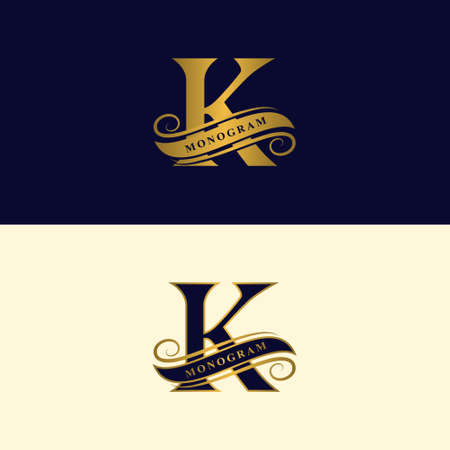 Gold letter K, calligraphic beautiful icon with tape for labels, graceful style. Vintage drawn emblem for book design, brand name, business card, restaurant, boutique, hotel vector illustration.