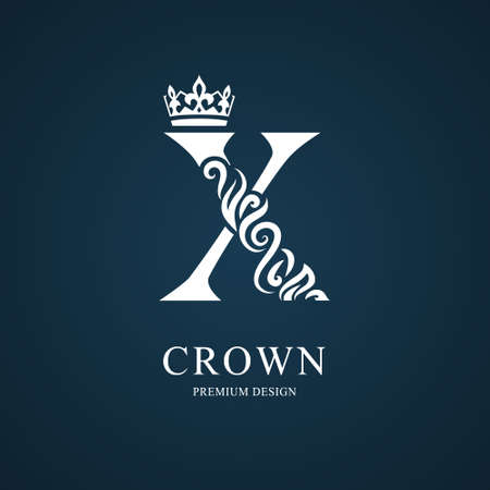 Elegant letter X with crown. Graceful royal style. Calligraphic beautiful logo. Vintage drawn emblem for book design, brand name, business card, Restaurant, Boutique, Hotel. Vector illustration Vettoriali