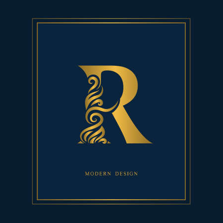 Gold Elegant letter R. Graceful royal style. Calligraphic beautiful icon. Vintage drawn emblem for book design, brand name, business card, Restaurant, Boutique, Hotel. Vector illustration.