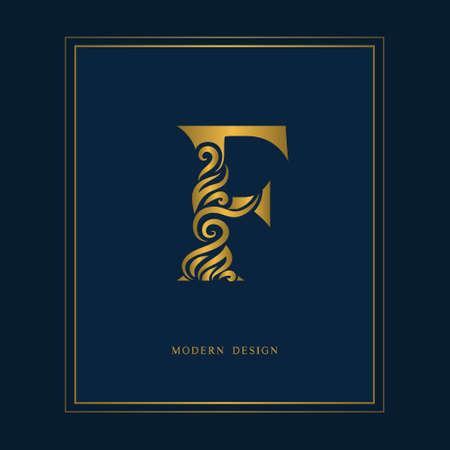 Gold elegant letter F, graceful royal style. Calligraphic beautiful icon. Vintage drawn emblem for book design, brand name, business card, restaurant, boutique, hotel vector illustration.
