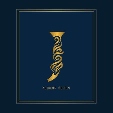 Gold Elegant letter J. Graceful royal style. Calligraphic beautiful logo. Vintage drawn emblem for book design, brand name, business card, Restaurant, Boutique, Hotel. Vector illustration Ilustrace