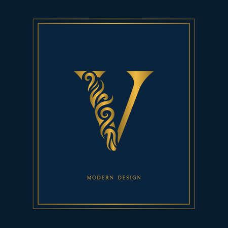 Gold Elegant letter V. Graceful royal style. Calligraphic beautiful logo. Vintage drawn emblem for book design, brand name, business card, Restaurant, Boutique, Hotel. Vector illustration