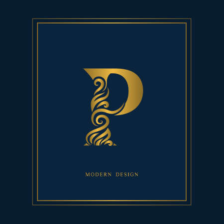 Gold Elegant letter P. Graceful royal style. Calligraphic beautiful icon. Vintage drawn emblem for book design, brand name, business card, restaurant, boutique, hotel. Vector illustration.