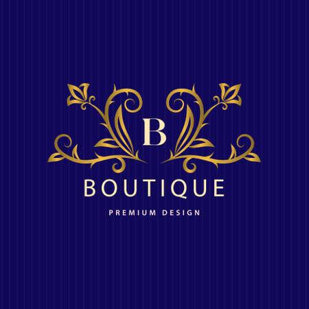 Gold Monogram design elements, graceful template. Calligraphic Elegant line art logo. Letter B emblem identity for Restaurant, Royalty, Boutique, Cafe, Hotel, Heraldic, Jewelry, Fashion, Wine. Vector