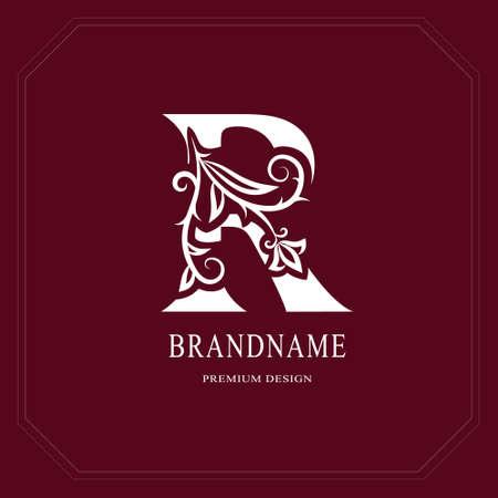 Elegante hoofdletter R. Sierlijke bloemstijl. Kalligrafisch mooi logo. Vintage getrokken embleem voor boekontwerp, merknaam, visitekaartje, restaurant, boetiek, hotel, café. Vector illustratie