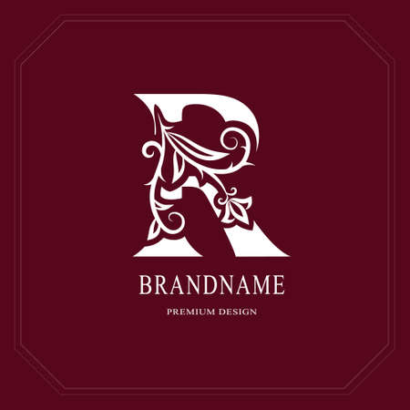 Elegant Capital letter R. Graceful floral style. Calligraphic beautiful logo. Vintage drawn emblem for book design, brand name, business card, Restaurant, Boutique, Hotel, Cafe. Vector illustration Stock Illustratie