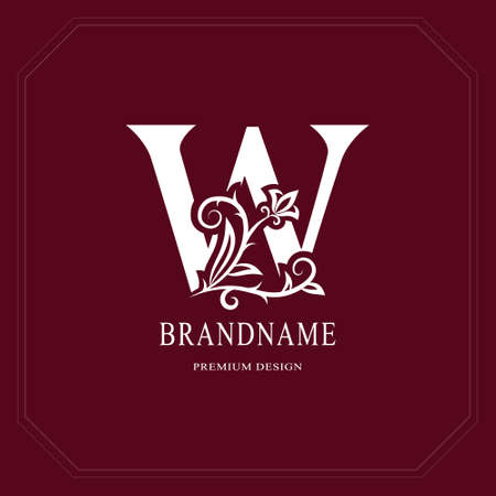 Elegant capital letter W. Graceful floral style. Calligraphic beautiful icon. Vintage drawn emblem for book design, brand name, business card, restaurant, boutique, hotel, cafe. Vector illustration. Vettoriali