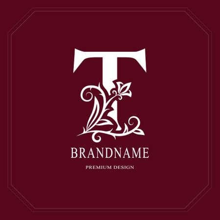 Elegant Capital letter T. Graceful floral style. Calligraphic beautiful logo. Vintage drawn emblem for book design, brand name, business card, Restaurant, Boutique, Hotel, Cafe. Vector illustration Banque d'images - 95356149