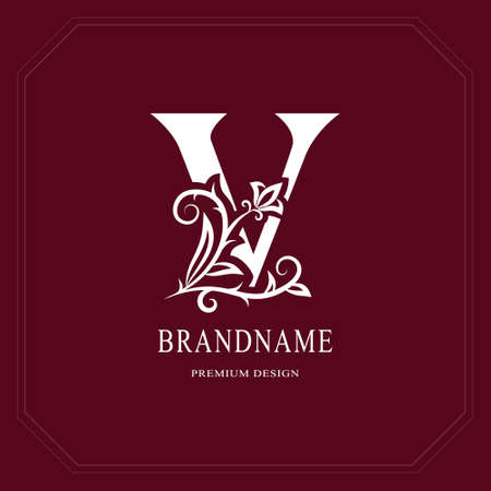 Elegant capital letter V, graceful floral style. Calligraphic gold beautiful icon. Vintage drawn emblem for book design, brand name, business card, restaurant, boutique, hotel vector illustration.