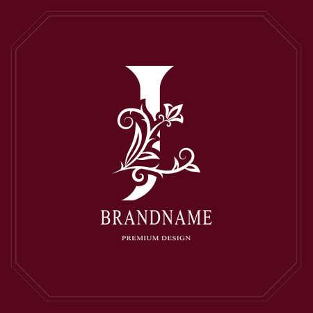 Elegant capital letter J, graceful floral style. Calligraphic gold beautiful icon. Vintage drawn emblem for book design, brand name, business card, restaurant, boutique, hotel vector illustration.