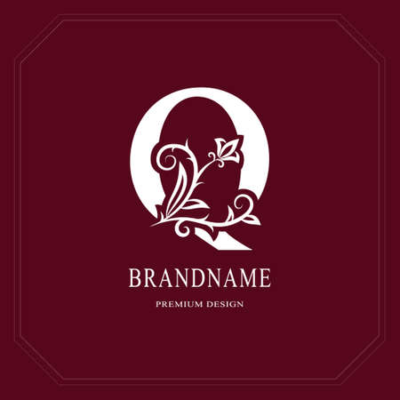 Elegant Capital letter Q. Graceful floral style. Calligraphic beautiful logo. Vintage drawn emblem for book design, brand name, business card, Restaurant, Boutique, Hotel, Cafe. Vector illustration Vettoriali