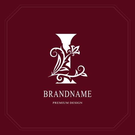 Elegant Capital letter I. Graceful floral style. Calligraphic beautiful logo. Vintage drawn emblem for book design, brand name, business card, Restaurant, Boutique, Hotel, Cafe. Vector illustration Vettoriali