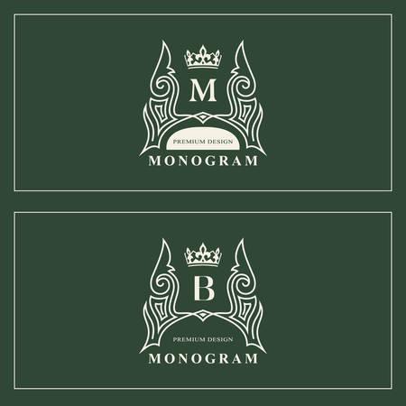 Monogram design elements, graceful template. Calligraphic elegant line art logo design. Capital Letter emblem sign M, B for Royalty, business card, Boutique, Hotel, Restaurant. Vector illustration