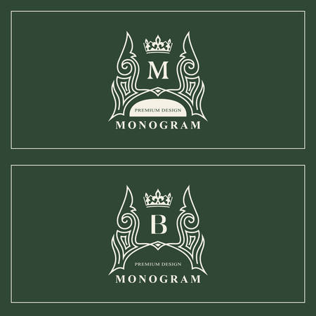 Monogram design elements, graceful template. Calligraphic elegant line art logo design. Capital Letter emblem sign M, B for Royalty, business card, Boutique, Hotel, Restaurant. Vector illustration