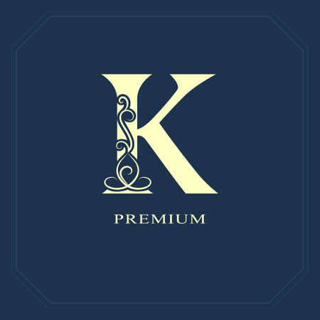 Capital letter K Calligraphic labels.