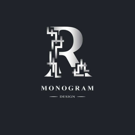 Abstract Capital letter R. Graceful Linear style. Geometric Strict design. Beautiful logo. Silver emblem for book design, brand name, business card, Restaurant, Boutique, Hotel. Vector illustration