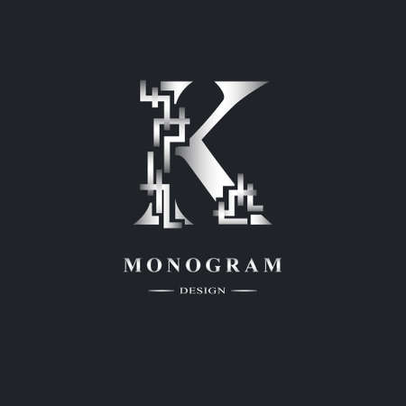 Abstract Capital letter K. Graceful Linear style. Geometric Strict design. Beautiful logo. Silver emblem for book design, brand name, business card, Restaurant, Boutique, Hotel. Vector illustration