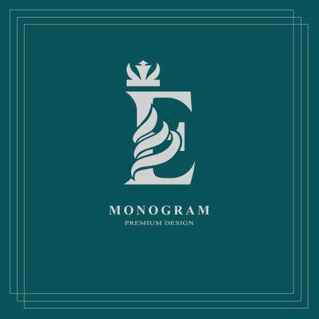 Elegant letter E with crown. Graceful royal style. Calligraphic beautiful logo. Vintage drawn emblem for book design, brand name, business card, Restaurant, Boutique, Hotel. Vector illustration