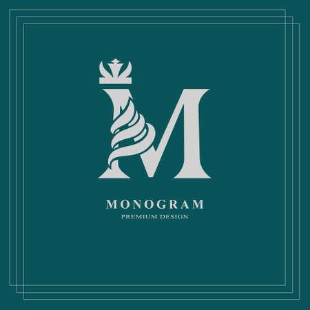 Elegant letter M with crown. Graceful royal style. Vintage drawn emblem for book design, brand name, business card, Restaurant, Boutique. Vector illustration