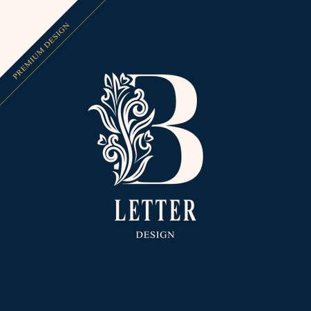 Elegant letter B. Graceful royal style