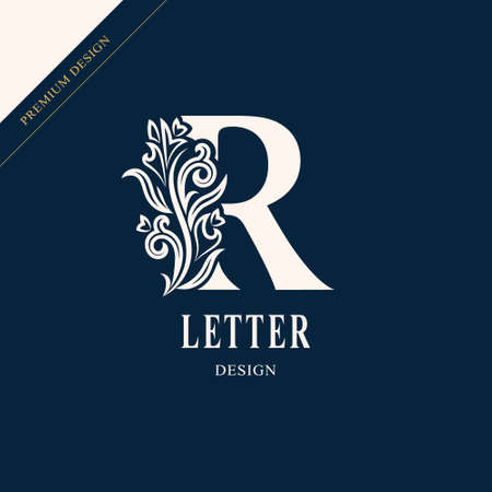 Elegant letter R. Graceful royal style.
