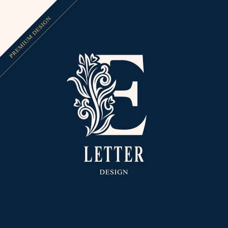 Elegant letter E. Graceful royal style. Çizim