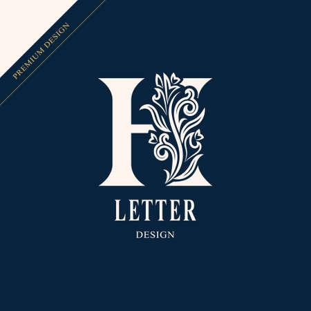 Elegante lettera H. Grazioso stile regale.