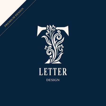 Elegant letter T. Graceful royal style. Stok Fotoğraf - 109421761