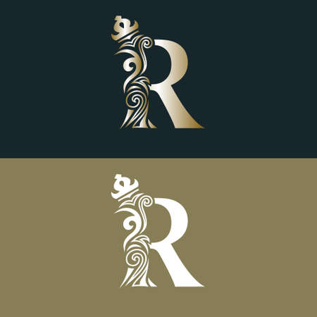 Elegant letter R with crown. Graceful royal style. Calligraphic beautiful gold logo. Vintage drawn emblem for book design, brand name, business card, Restaurant, Boutique, Hotel. Vector illustration Stock Illustratie