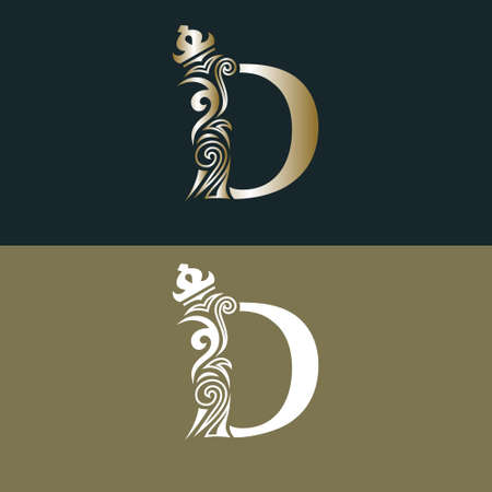 Elegant letter D with crown. Graceful royal style. Calligraphic beautiful gold logo. Vintage drawn emblem for book design, brand name, business card, Restaurant, Boutique, Hotel. Vector illustration Illustration