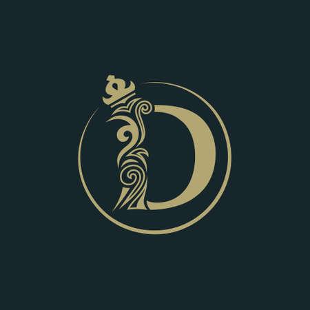 Elegant letter D with crown. Graceful royal style. Calligraphic beautiful round logo. Vintage drawn emblem for book design, brand name, business card, Restaurant, Boutique, Hotel. Vector illustration