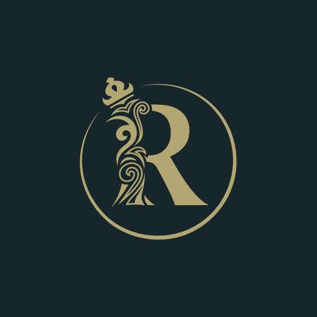 Elegant letter R with crown. Graceful royal style. Calligraphic beautiful round logo. Vintage drawn emblem for book design, brand name, business card, Restaurant, Boutique, Hotel. Vector illustration Ilustração