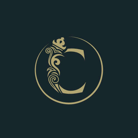 Elegant letter C with crown. Graceful royal style. Calligraphic beautiful round logo. Vintage drawn emblem for book design, brand name, business card, Restaurant, Boutique, Hotel. Vector illustration